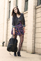 blue modcloth dress - black modcloth dress - black modcloth tights - black modcl