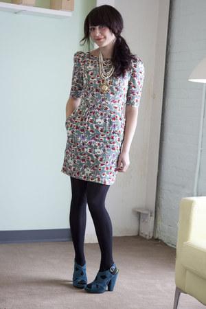 teal modcloth dress - teal modcloth heels - black modcloth tights - ivory modclo