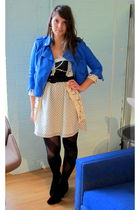 blue modcloth jacket - beige modcloth sweater - white modcloth dress - black mod
