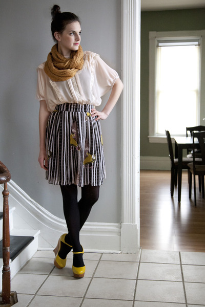 yellow modcloth wedges - camel modcloth scarf - black modcloth skirt