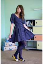 navy modcloth dress - navy modcloth tights - yellow modcloth flats