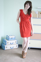 coral modcloth dress - brown modcloth wedges