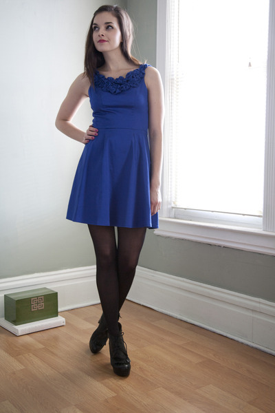 Blue Modcloth Dresses Black Modcloth Tights Black ...