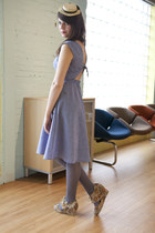 blue modcloth dress - beige modcloth hat - charcoal gray modcloth tights - nude