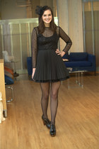 black modcloth dress - black modcloth tights - black modcloth accessories - blac