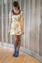 cream modcloth dress - black modcloth tights - blue modcloth wedges - accessorie