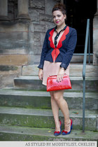 navy modcloth blazer - peach modcloth dress - red modcloth bag