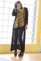 gold modcloth top - black modcloth cardigan - black modcloth pants - black modcl