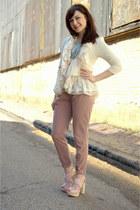 cream modcloth blazer - aquamarine darling modcloth top - pink modcloth pants -