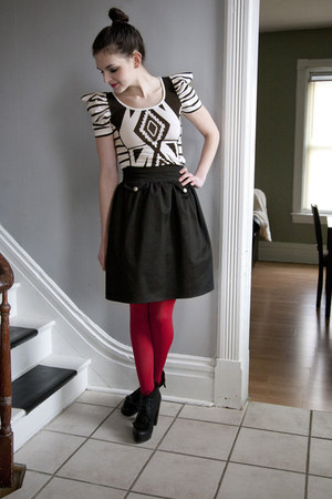 white modcloth dress - red modcloth tights - black modcloth skirt - black modclo