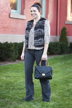 gray modcloth vest - heather gray modcloth top - dark gray modcloth pants - blac