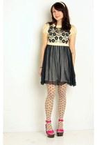 black modcloth dress - eggshell modcloth tights - hot pink modcloth sandals - iv