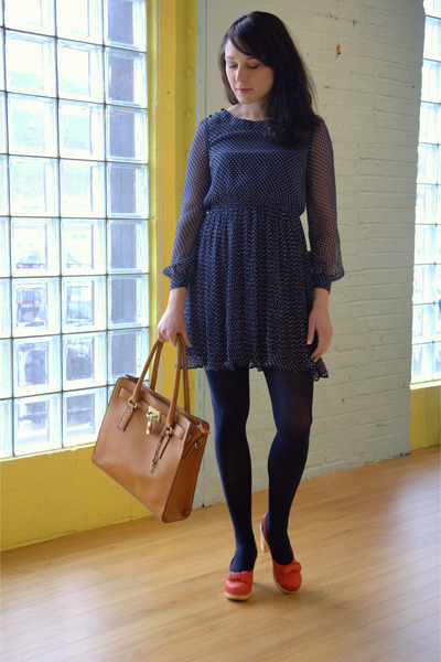 navy modcloth dress - navy modcloth tights - camel modcloth bag - ruby red swedi