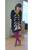 gray modcloth shoes - black modcloth dress - purple modcloth tights - chartreuse