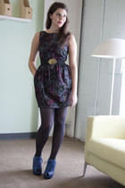 black modcloth dress - blue modcloth shoes - black Belt belt - navy modcloth tig