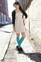 ivory modcloth dress - black modcloth sweater - teal modcloth socks - black modc