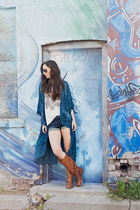blue kimono H&M jacket - nude loose Zara shirt - navy classic Express shorts