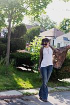 brown kimono homemade jacket - blue flared raw hem dittos jeans