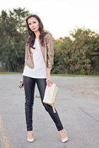black pleather H&M pants - tan sequined f21 jacket - white hi lo Zara top