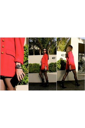 gold buttons vintage blazer - Lodi boots - Mulberry purse - Omega watch