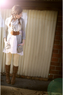 Gray-h-m-cardigan-brown-urban-outfitters-belt-yellow-target-tights-white-t