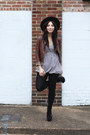 Brown-forever-21-jacket-black-h-m-tights