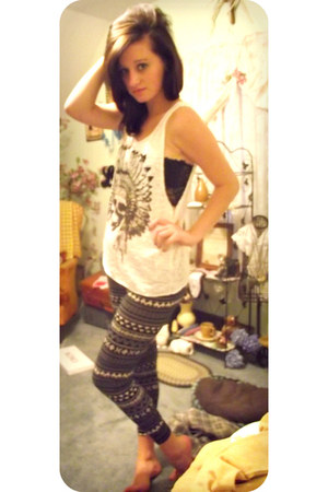 aztec Target leggings - indian skull Tank top top - black lace bandeau bra