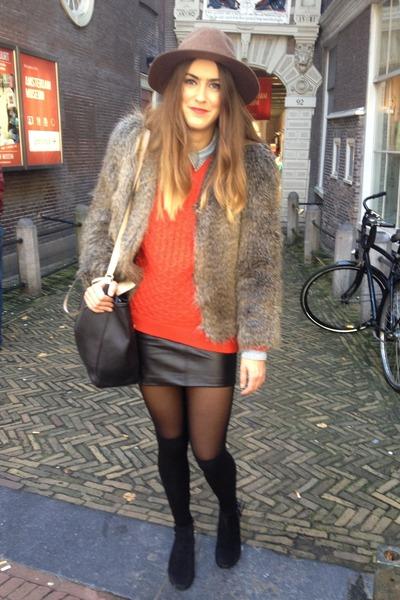 light brown Mango hat - black Topshop shoes - light brown faux fur H&M jacket
