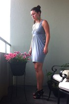 light blue drapey dress - navy strappy Costa Blanca heels - gold leaf earrings