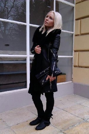 black Mango boots - black leather Burberry coat - black H&amp;M jeans