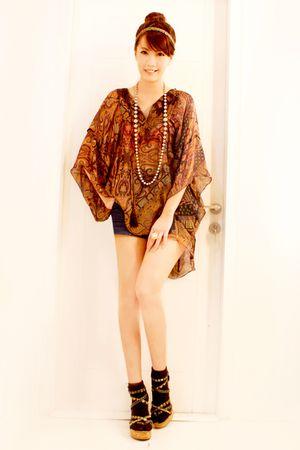black wedges wedges shoes - black socks - brown Zara blouse