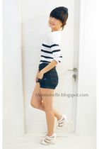 white DJODY top - blue Topshop shorts - white Topshop shoes - white