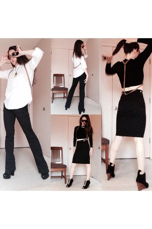 white button down H&M shirt - black top - black belt pencil skirt