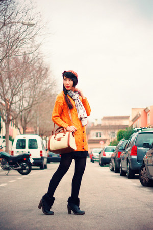 mustard asos cardigan - black Coolway boots - beige Zara bag