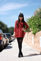 ruby red Mumu Home dress - black bought in Korea heels