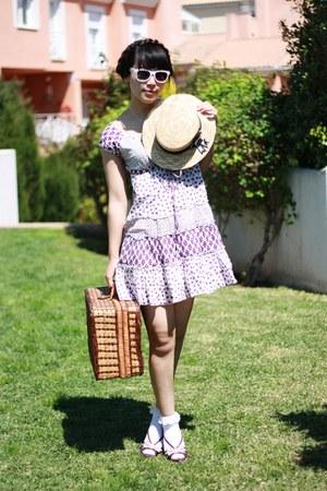 purple Stradivarius dress - light yellow Alice et June hat - ivory Momo House so