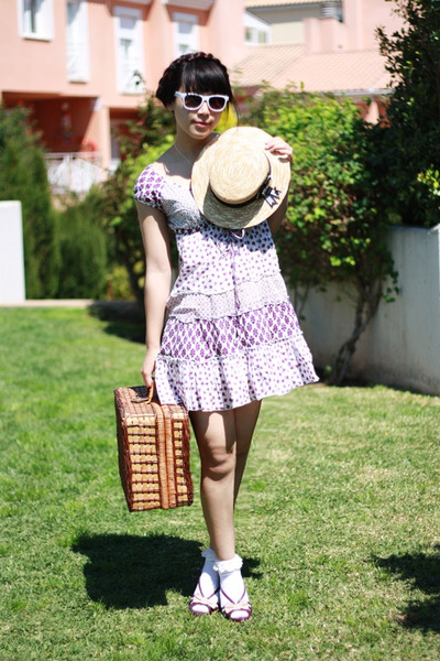 purple Stradivarius dress - light yellow Alice et June hat - ivory Momo House so