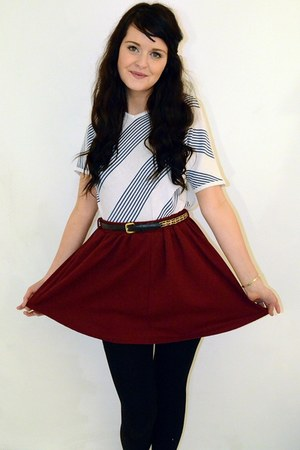 maroon high waisted Primark skirt - white striped vintage jumper