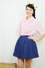Light-pink-cut-out-vintage-blouse-navy-polka-dot-primark-skirt
