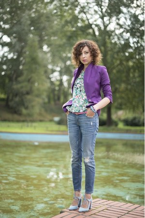 amethyst Zara jacket - turquoise blue floral OASAP top - light blue Zara heels