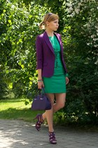 purple Zara jacket - green Zara dress - deep purple lacote bag