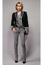 H&M jacket - stripped New Yorker pants - Moschino belt