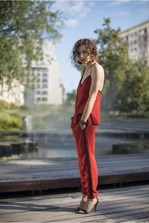 red track suit Zara suit - black ankle strap Mango sandals - black timex watch