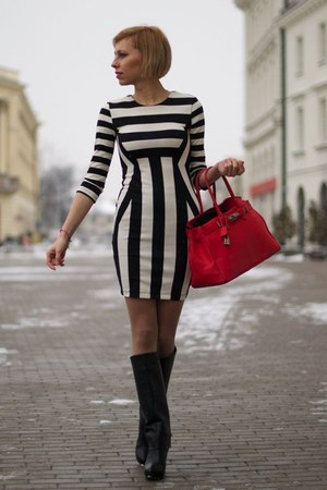 black Zara boots - H&M dress