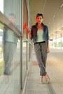 Blue-jeans-diesel-jacket-white-striped-atmosphere-pants