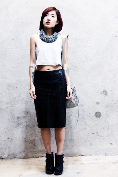 balenciaga bag - asos skirt - Irregular Choice wedges - Topshop top