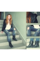 distressed Zara jeans - military Gate boots - leather jacket New Yorker jacket