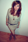 Beige-new-yorker-dress-beige-bershka-shoes-brown-bershka-belt-brown-new-yo