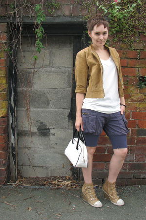 beige charity shop coat - white Mongrel t-shirt - blue Diesel shorts - beige ASH