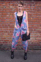 blue Laura Ashley suit - black Topshop vest - black vintage purse - black Jeffre